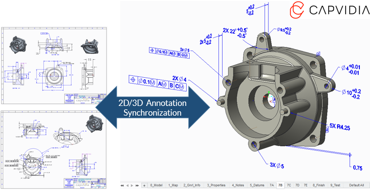 3D Model With Annotations Derived From a Creo Drawing